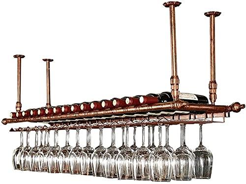 Estantería de vino de la pared europea estante de almacenamiento de hierro metálico en bar loft techo montado en la pared colgante vino champagne copas de vidrio stemware rack vino botella porta