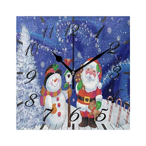 Jacque Dusk Reloj de Pared Moderno,Feliz Navidad Papá Noel Muñeco de Nieve Copo de Nieve,Grandes Decorativos Silencioso Reloj de Cuarzo de Redondo No-Ticking para Sala de Estar,25cm diámetro
