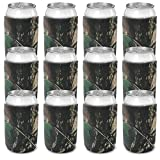 CSBD Beer Can Coolers Sleeves, Soft Insulated Reusable Drink Caddies for Water Bottles or Soda, Collapsible Blank DIY Customizable for Parties, Events or Weddings, Bulk (50, Natural Camo)