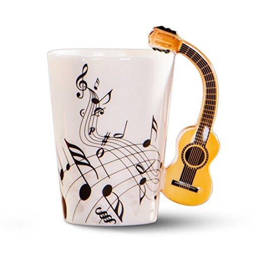 XZANTE Taza de Ceramica del Manejar de la Guitarra de la Novedad Creativa Espectro Libre Taza de te de Leche cafetaza de la Personalidad Taza Regalo Instrumento Musical Unico