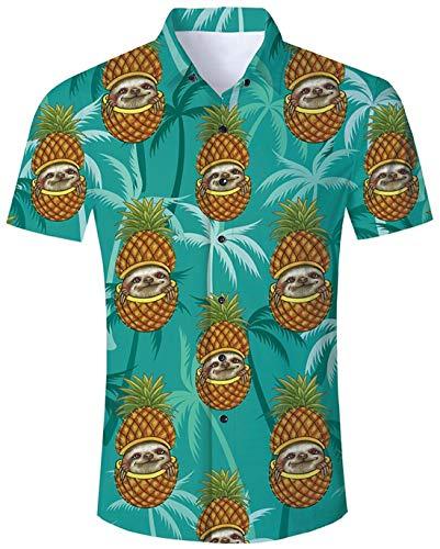 Idgreatim Herren Freizeithemd Printed Hemden Shirts Lustiges Muster Kurzarm Knöpfe Vintage 50er Jahre Herrenblusen