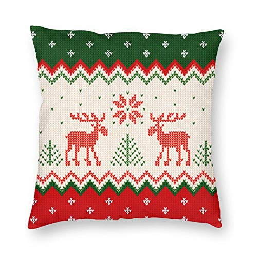 Christmas Pillow Covers Christmas Decorations Ugly Sweater Deer Snowflake Christmas Throw Pillow Cushion Cover Case Square Pillowcase