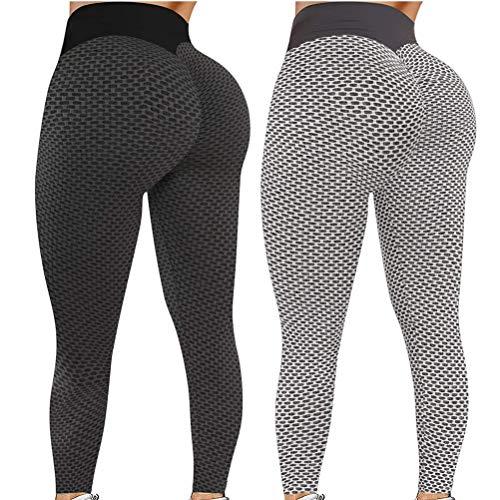 runxinqing 2 Pezzi Leggings Elasticizzati da Donna a Vita Alta Controllo della Pancia Pantaloni a Compressione anticellulite, Leggings Sportivi, Pantaloni Attivi per Corsa, Allenamento, Fitness