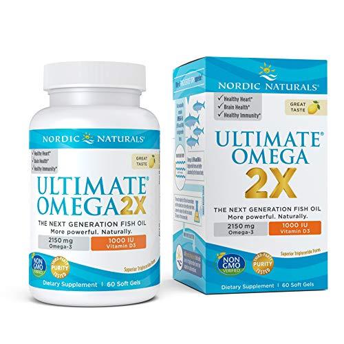 Nordic Naturals Ultimate Omega 2X with Vitamin D3 Lemon Flavor  2150 mg Omega3  1000 IU D360 Soft Gels  Omega3 Fish Oil  EPA amp DHA  Brain Heart Joint amp Immune Health  30 Servings