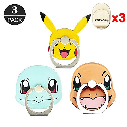 ZOEAST(TM) 3 Pack Phone Ring Grip Pocket Monster Ball Pokeball Universal 360° Adjustable Holder Car Hook Stand Mount Kickstand Compatible with All iPhone X Plus Samsung Android iPad(3pcs Monster)