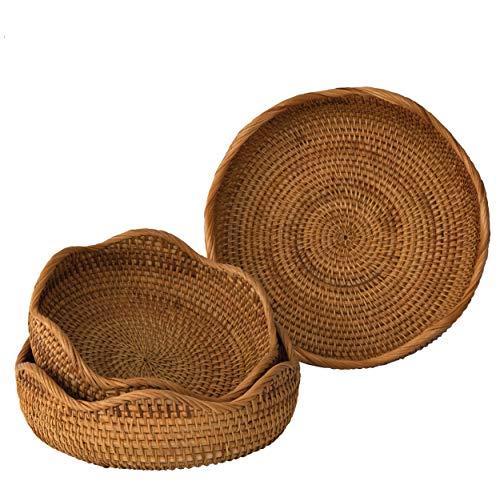 Set 3 Bol natural de mimbre tejido cesta de frutas,Tazón de almacenamiento decorativo hecho a mano Elegante mesa de comedor de sobre encimera rústica Boho Decoración de cocina