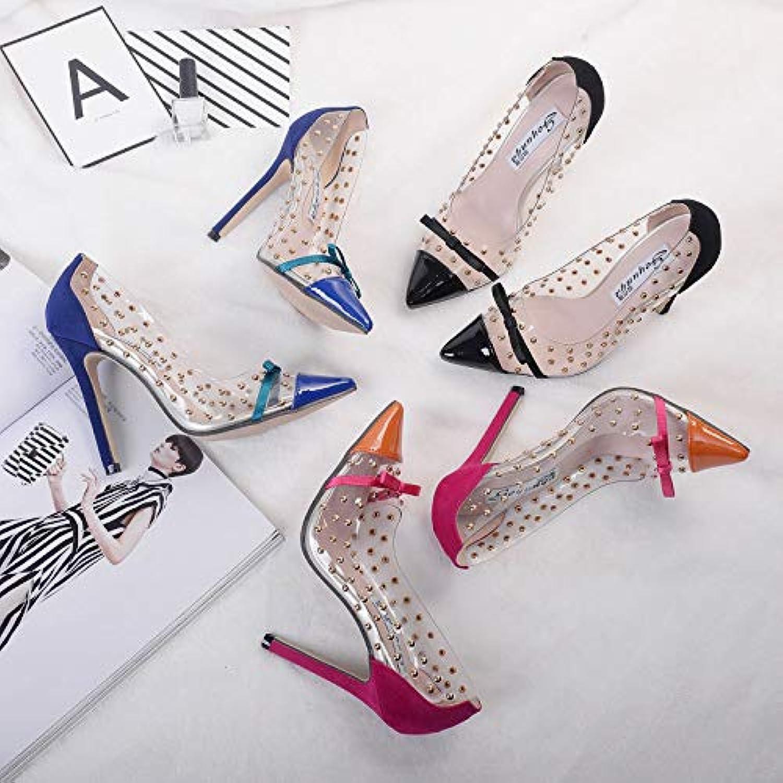HOESCZS Frauen Schuhe Frühjahr Und Herbst Farbabstimmung Hochhackige Schuhe Schuhe Schuhe Niet Große Größe Frauen Schuhe 41  3534c5