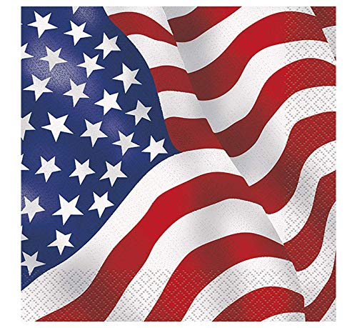Papierservietten - 16,5 cm - US-Flagge - Packung mit 16 Stück