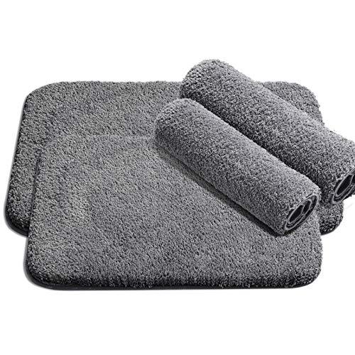 Badematte rutschfest Badezimmerteppich - 2 Pack WC Badteppich flauschige Badematte, Badvorleger für Dusche, Badewanne und Toilette - für Fußbodenheizung und Trockner geeignet (grau 50x80cm + 60x40cm