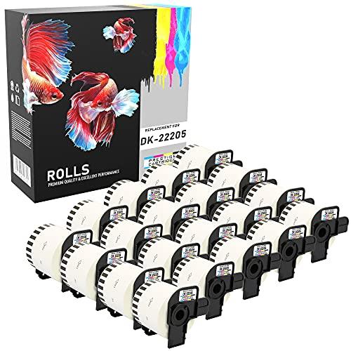 Prestige Cartridge DK-22205 - Cinta continua de papel para impresoras de etiquetas Brother (62 mm x 30.48 m, 20 rollos) color blanco