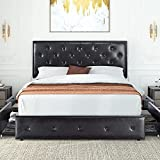 Hoomic Queen Faux Leather Upholstered Platform Bed Frame with 4 Storage Drawers, Wooden Slats Support, Adjustable Headboard with Button Tufted Design, No Box Spring Needed, Black-Brown
