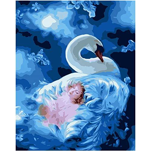 Cadeauset voor olieverfschilderij om te knutselen, digitaal, voor kinderen, volwassenen, voor het beschilderen van cijfers, Home Decor – witte sjabloon 40x50cm