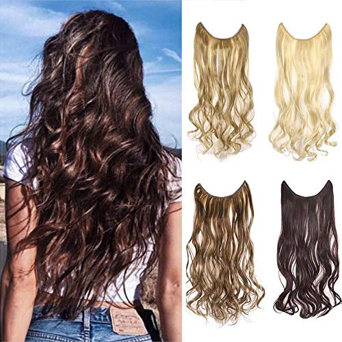Cagora Halo Hair Extension Curly Wave Cilp in Hair Extension Natural Straight Hairpiece Hidden Wire Crown Headband Synbthetic Hair Fibers Elastic Long Hair Extensions for Women(Golden Beach Blonde)