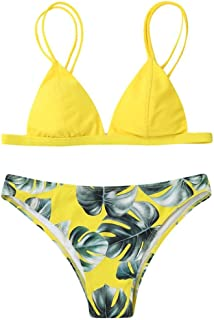 SweatyRocks Women's Bikini Swimsuit V Neck Leaves Print Double Straps Swimwear Set