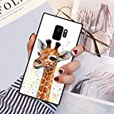 Galaxy S9 Squared Case Cute Young Giraffe Design Heavy Duty Protection Shock Absorption Slim Soft TPU Edge and Hard PC Case Cover for Samsung Galaxy S9