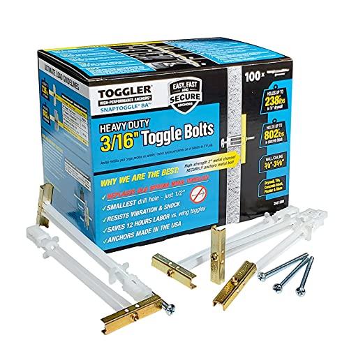 (BA) 3/16-24 Toggler SNAPTOGGLE Heavy Duty Toggle Bolt Zinc with 3/16-24 x 2 1/2 Combo Pan Machine Screws Zinc (100 Pcs)