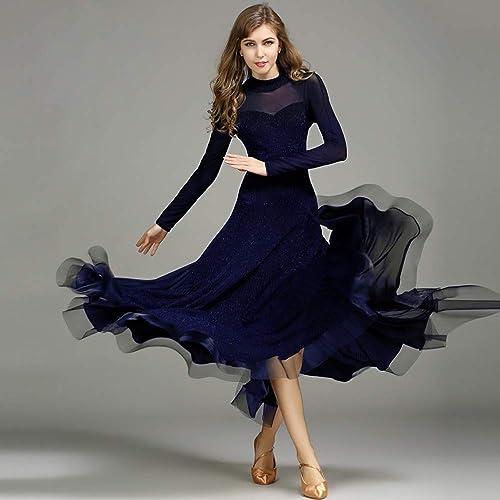Liu Sensen Moderne Dame Grand Pendule Brillant Fil Moderne Danse Robe Tango Et Valse Danse Robe Danse Concours Jupe Manches Longues Fil De Danse Costume