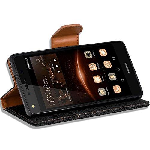 Verco Y5 II Hülle, Schutzhülle für Huawei Y6 2 Compact Tasche Denim Textil Book Case Flip Case - Klapphülle Schwarz - 5