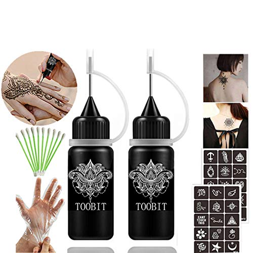 Price comparison product image TOOBIT Temporary Tattoo Kit- Jagua Tattoo Gel 2 Bottles Black 1 ozSemi Permanent Tattoo Natural and Lasting, Free 30 Tattoos Stencils 10 Cotton Swabs & 1 Pair of Disposable Gloves