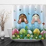 Allenjoy Duschvorhang-Set mit 12 Haken, zwei Häschen & Kaninchen, für Valentinstag, Zuhause, Badezimmer, Dekoration, 183 x 183 cm, Schmetterlinge, Eier, wasserdicht, strapazierfähig