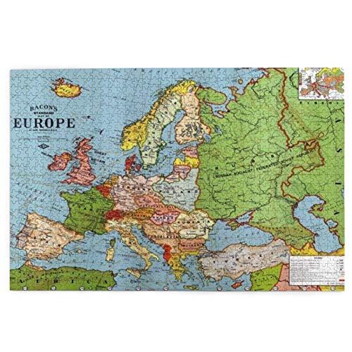 SDBUYW-ZQ Puzzles 1000 Stück, Europakarte, Puzzlespiel für große Familien für Erwachsene Teenager
