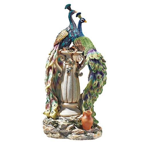 Design Toscano Pfauen im Paradies Dekostatue, Polyresin, vollfarbe, 48 cm