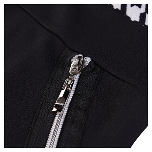 Miusol Damen Kleid Mit 3/4-Arm Hahnentritt Muster mit Reissverschluss vorne?Business Abendkleider Schwarz EU 44/46/XXL - 3