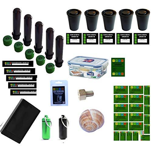 NEU 38 Teile Geocaching Behälter Paket Set - Nano Versteck Petling Logbuch Micro