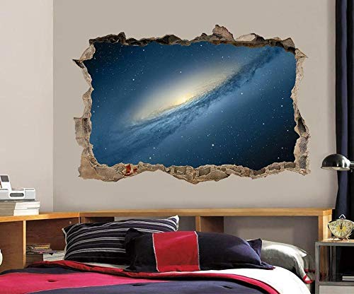 TJJS Pegatinas de pared Espacio Galaxy Interstellar Stars 3D Smashed Wall Sticker Decal Art Mural
