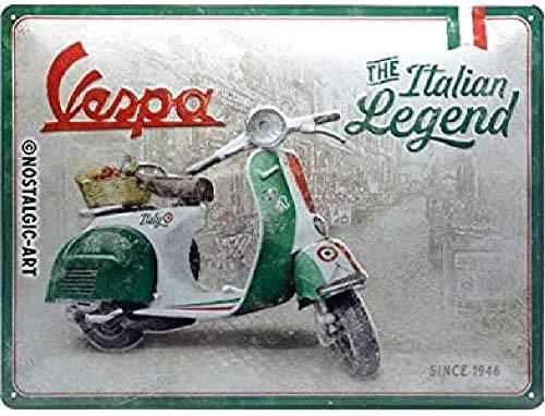 Nostalgic-Art Retro Blechschild Vespa – Italian Legend – Geschenk-Idee für Roller Fans, aus Metall, Vintage-Design zur Dekoration, 30 x 40 cm