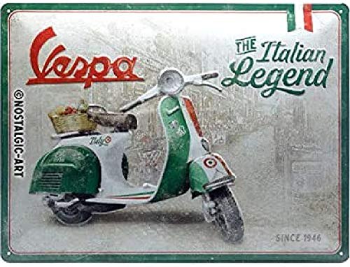 Nostalgic-Art Cartel de chapa retro Vespa – Italian Legend – Idea de...