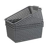 Gloreen - Set di 4 cestini multiuso in plastica grigia...