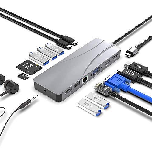 Eletrand Type C Docking Station USB C Hub, 14 in 1 Universal Docking Station with 24K HDMI, VGA, RJ45 Gigabit Ethernet Port, 2USB 2.0, 3.5mm Audio Port, 60W PD USB-C, 3USB 3.0,SD/TF Card Slots