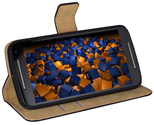 mumbi Tasche Bookstyle Hülle kompatibel mit Motorola Moto G2 Hülle Handytasche Hülle Wallet, schwarz