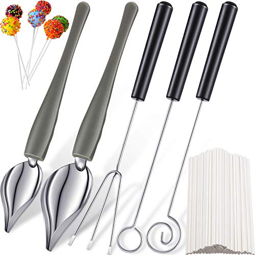 5 Pieces Candy Dipping Tools and Culinary Decorating Spoons with 100 Pieces 6 Inch White Lollipop Sticks for DIY Decorative Food
