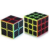 TOYESS Speed Cube Set Cubo de Velocidad 3x3 Stickerless+Cubo Mágico 2x2, Rompecabezas Puzzle Juguetes para Adulto & Niños,Fibra de Carbon(2 Pack)