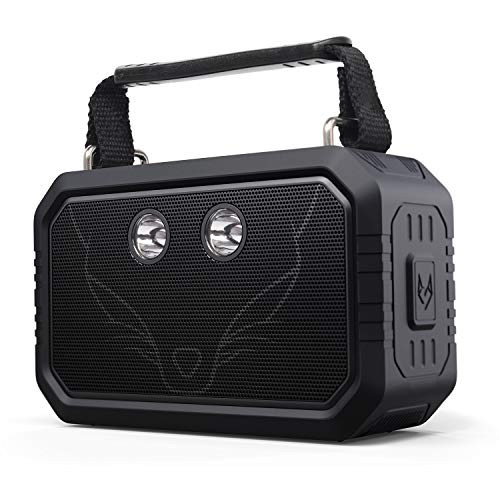 DOSS Traveler Wireless Portable Bluetooth Speakers, Waterproof IPX6, 20W Stereo Sound and Bold Bass, 12H Playtime, 5 Light Modes for Outdoor-Black