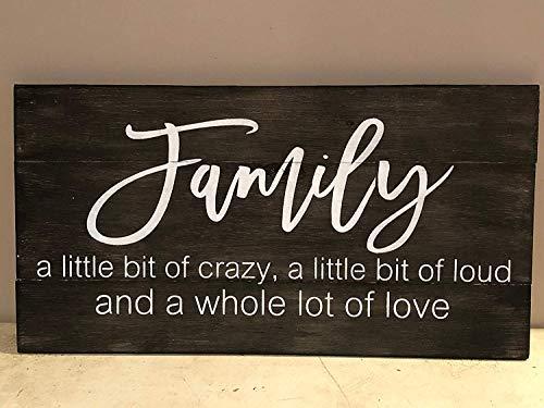 Brooer2ick Family A Little Bit of Crazy A Little Bit of Loud A Whole Lot of Love Familienschild Palettenschild Crazy Family Schild Holzschild Basteln für Wohnzimmer Deko