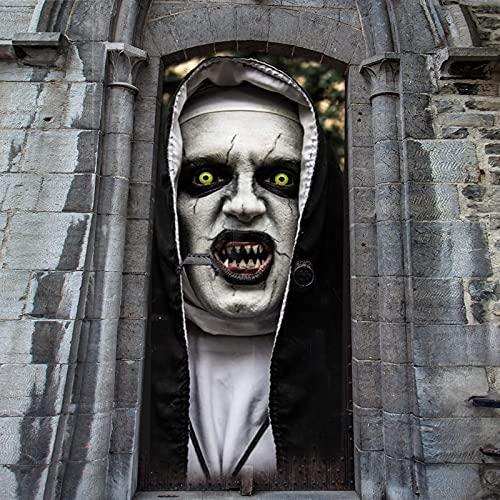 Decoración de Halloween, Papel Pintado Puertas 3D Halloween, Decoración de terror de Halloween, Pegatinas De Puerta Posters Autoadhesivo Vinilo Mural Dormitorio Baño Cocina Decoración 77 x 200 cm