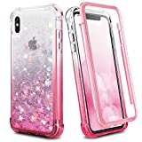 Ruky iPhone X Case, iPhone Xs Case, Full Body Rugged Glitter Liquid Case with Built-in Screen Protector Shockproof Protective Girls Women Phone Case for iPhone X iPhone Xs 5.8 inches (Gradient Pink)
