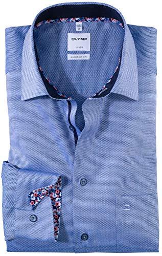 OLYMP Luxor Comfort fit Hemd Langarm New Kent Kragen Struktur blau Größe 48