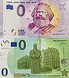 0-Euro-Schein Set Karl Marx Trier und 0 Euro Memo-Schein Friedrich Engels Wuppertal im Set Souvenir Null Euro € Sammler Banknote -