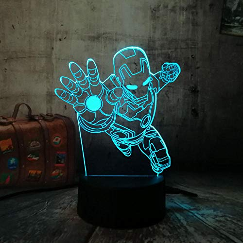 The Avengers Marvel Comics Fly Iron Man 3D LED Lámpara de
