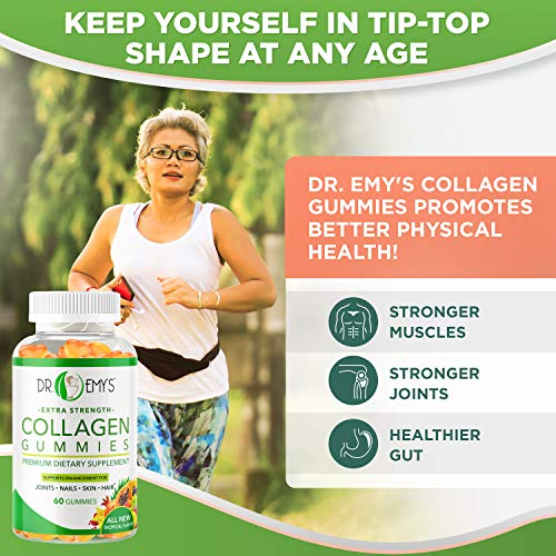 51KK1RWK9RL - Collagen Gummies by Dr Emy's. Gummy Vitamin for Women & Men, hair, skin, nails, joint supplement. Anti-aging collagen gummy supplements. Strengthen hair, skin and nails. Gelatin-Free. 2 pk 60 ct each.