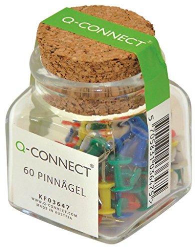 Q-Connect KF03647 prikbordnaalden, gesorteerd in glas, 60 stuks