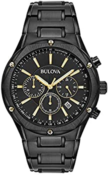 Bulova Men's Stainless Steel Chronograph Black and Gold Tone Watch