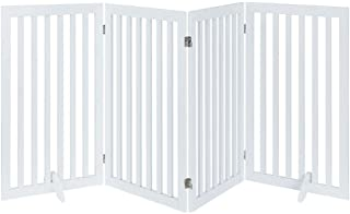 Unipaws Large Free Standing Dog Gate, Extra Wide Safety Wood Pet Gate, Extra Tall Indoor Foldable Dog Gate, Expands up to ...