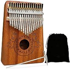 UNOKKI Kalimba Thumb Piano - Kalimba 17 Key Musical Instruments w/ Kalimba Song Book Instructions, Tuning Hammer & More! Thumb Piano for Kids & Adults - Easy to Learn Finger Piano Music (Light Brown)