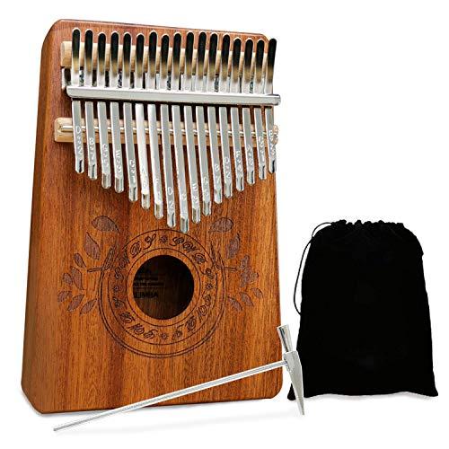 UNOKKI Kalimba 17 Keys Thumb Piano with Study Instruction and Tune Hammer, Portable Mbira Sanza African Wood Finger Piano, Gift for Kids Adult Beginners Professional (Mahogany)