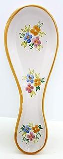 Poggiacucchiaio Linea Tris di Fiori Bordo Arancio dimensioni 24 x 8,5 cm Realizzato a Mano Le Ceramiche del Castello Made ...